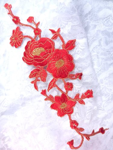 GB158 Red Gold Metallic Rose Embroidered Applique Iron On Patch 10""