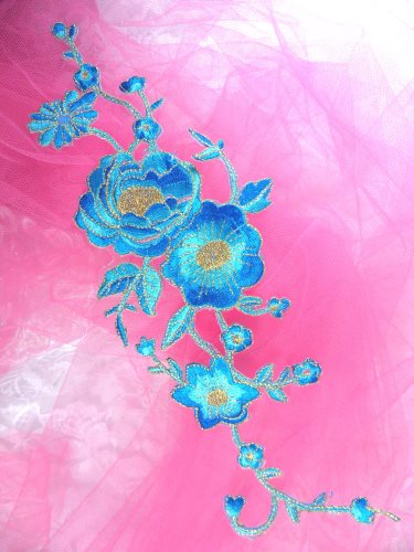 GB158 Turquoise Gold Metallic Rose Embroidered Applique Iron On Patch 10""
