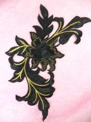 GB159 Floral Rose Black Gold Metallic Embroidered Flower Applique Iron On Patch 9""