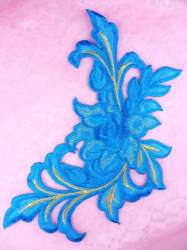 GB159 Floral Rose Turquoise Blue Gold Metallic Embroidered Flower Applique Iron On Patch 9""