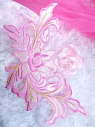 """GB159 Floral Rose Pink Gold Metallic Embroidered Flower Applique Iron On Patch 9"""""""