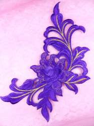 GB159 Floral Rose Purple Gold Metallic Embroidered Flower Applique Iron On Patch 9""