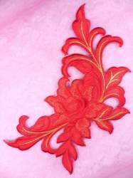 GB159 Floral Rose Red Gold Metallic Embroidered Flower Applique Iron On Patch 9""