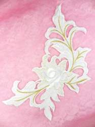 """GB159 Floral Rose White Gold Metallic Embroidered Flower Applique Iron On Patch 9"""""""