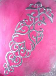 """GB161 Silver Metallic Embroidered Applique Iron On Patch 11"""""""