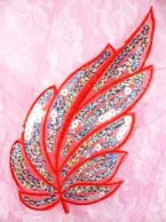 """GB163 Red Embroidered Silver Seqiun Leaf Applique 6.25"""""""