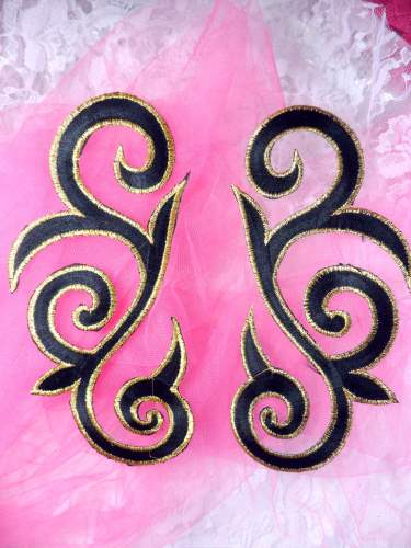 GB164 Black Gold Metallic Embroidered Scroll Mirror Pair Appliques Iron On Patch 7""