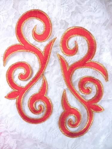 GB164 Red Gold Metallic Embroidered Scroll Mirror Pair Appliques Iron On Patch 7""