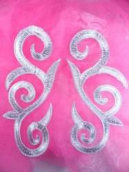 """GB164 Silver Metallic Embroidered Scroll Mirror Pair Appliques Iron On Patch 7"""""""