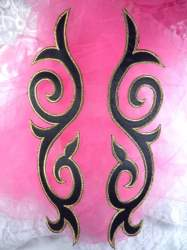 """GB166 Embroidered Appliques Mirror Pair Black Gold Metallic Iron On Patch 9.25"""""""