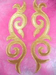 "ONE SIDE Embroidered Appliques Mirror Pair Gold Metallic Iron On Patch 9.25"" (OSGB166)"