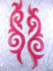 GB166 Embroidered Appliques Mirror Pair Hot Pink Gold Metallic Iron On Patch 9.25""