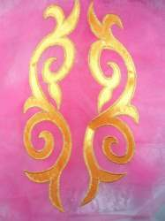 GB166 Embroidered Appliques Mirror Pair Yellow Gold Metallic Iron On Patch 9.25""