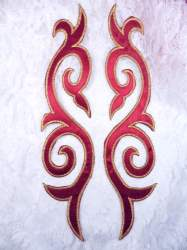 GB166 Embroidered Appliques Mirror Pair Burgundy Gold Metallic Iron On Patch 9.25""