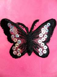 GB167 Black Embroidered Butterfly Silver Holographic Seqiun Applique 3""