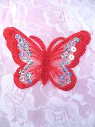 GB167 Red Embroidered Butterfly Silver Holographic Seqiun Applique 3""