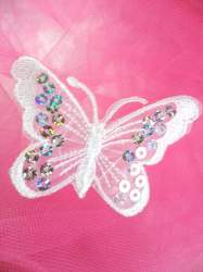 GB167 White Embroidered Butterfly Silver Holographic Seqiun Applique 3""