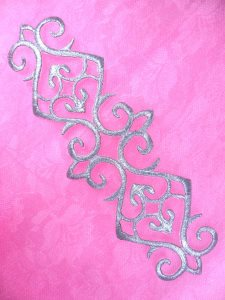 GB169 Silver Metallic Embroidered Applique Iron On Patch 7.25""