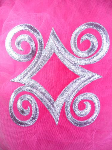 GB170 Silver Metallic Embroidered Applique Iron On Patch 4.25""