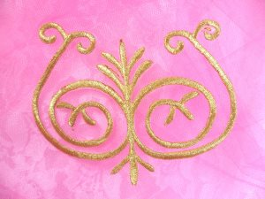 GB171 Embroidered Applique Gold Metallic Iron On Patch 4""