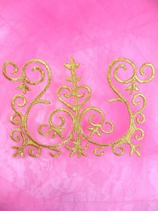 GB172 Embroidered Applique Gold Metallic Iron On Patch 4.5""
