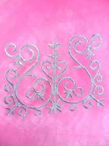 """GB172 Embroidered Applique Silver Metallic Iron On Patch 4.5"""""""