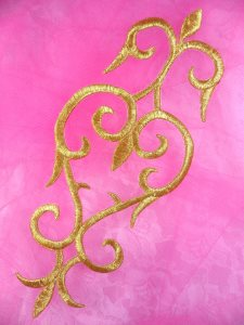 """GB173 Embroidered Applique Gold Metallic Iron On Patch 8.5"""""""