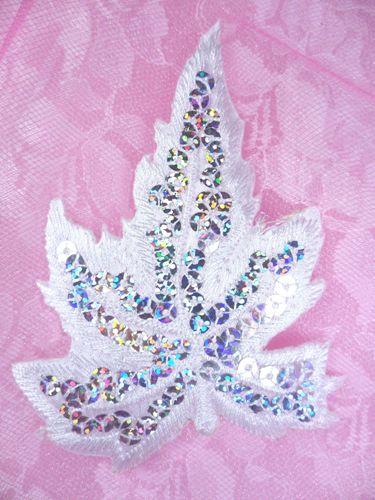 """GB174 White Embroidered Silver Holographic Seqiun Leaf Applique 4"""""""