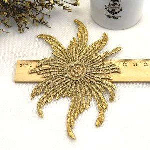 "GB178 Applique Gold Metallic Embroidered Venice Lace 5"""