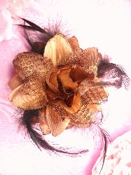 """Gb18 Brown Satin Lace Rose Feather Applique/Brooch/Hairbow  3"""""""