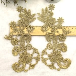 """GB181 Appliques Gold Metallic Mirror Pair Embroidered Venice Lace 7"""""""