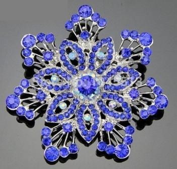 GB202 Bridal Rhinestone Brooch Pin Blue Silver 2.5""