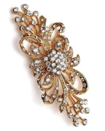 "GB203 Rose Gold Crystal Rhinestone Bridal Brooch Pin Glass 3.75"""