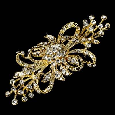 """GB203 Gold Crystal Bridal Rhinestone Brooch Pin Glass 3.75"""""""