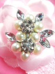 """GB214 Pearl Crystal Silver Bridal Rhinestone Brooch Pin 1.25"""""""