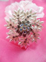 GB215 Pearl Crystal Silver Bridal Rhinestone Brooch Pin Glass 2""