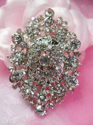 """GB218 Bridal Rhinestone Brooch Pin Vintage Silver Crystal Glass 2.5"""""""