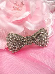 GB219 Crystal Silver Bow French Clip Hair Piece Rhinestone 1.75""