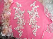 """Embroidered Lace Appliques White Mirror Pair Floral 10"""" (GB222X-wh)"""