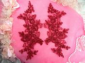 """Embroidered Lace Appliques Burgundy Wine Mirror Pair Floral 10"""" (GB222X-wn)"""
