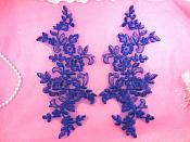"Embroidered Lace Appliques Blue Mirror Pair Floral 10"" (GB222X-bl)"