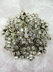 """GB244 Bridal Rhinestone Brooch Pin Antique Gold Metal Crystal 2"""""""
