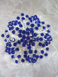 "GB244 Bridal Rhinestone Brooch Pin Silver Metal Blue Glass 2"""