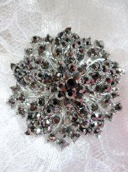 "GB244 Bridal Rhinestone Brooch Pin Silver Metal Gunmetal Glass 2"""