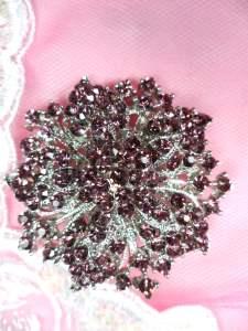 "GB244 Bridal Rhinestone Brooch Pin Silver Metal Plum Glass 2"""
