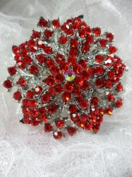 "GB244 Bridal Rhinestone Brooch Pin Silver Metal Red Glass 2"""