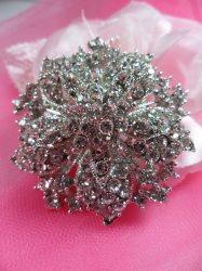 """GB244 Bridal Rhinestone Brooch Pin Vintage Silver Crystal Glass 2"""""""