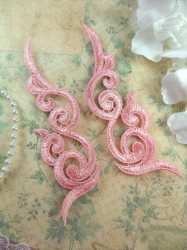 """GB249 Embroidered Appliques Light Pink Scroll Design Mirror Pair 6.75"""""""