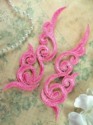 """GB249 Embroidered Appliques Pink Scroll Design Mirror Pair 6.75"""""""