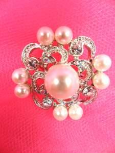 """GB254 Pearl Brooch Pin Silver 1.25"""""""